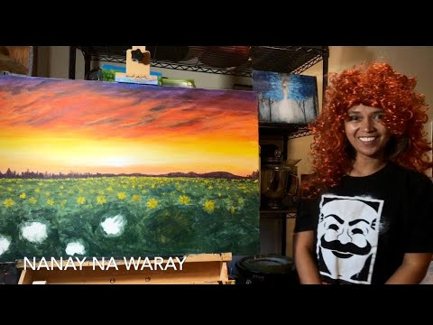 DAY 2 OF MY SUNFLOWER FIELD ON SUNSET #ACRYLIC PAINTING #TIMELAPSE