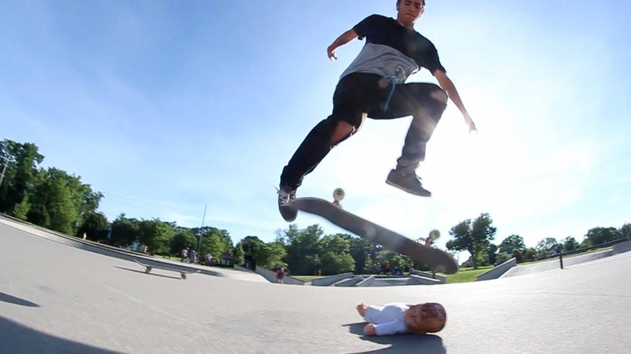 Skateboard Tricks Over a Baby! - YouTube