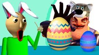 Привет СОСЕД обидел БАЛДИ? ПАПА и Кирюша ищут Яйца сюрпризы в игре Baldi Easter MOD