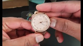 FOSSIL ES4364P Neely Three Hand Pastel Pink Stainless Steel Watch - Unboxing & Setup