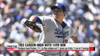 L.A. Dodgers′ Ryu Hyun-jin sharp in return from injury, earns career-high 14th
