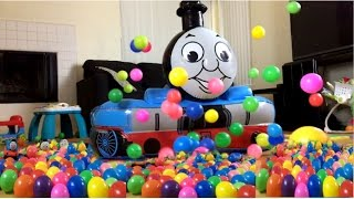 giant thomas and friends toy train ball pit james percy egg surprise learn color