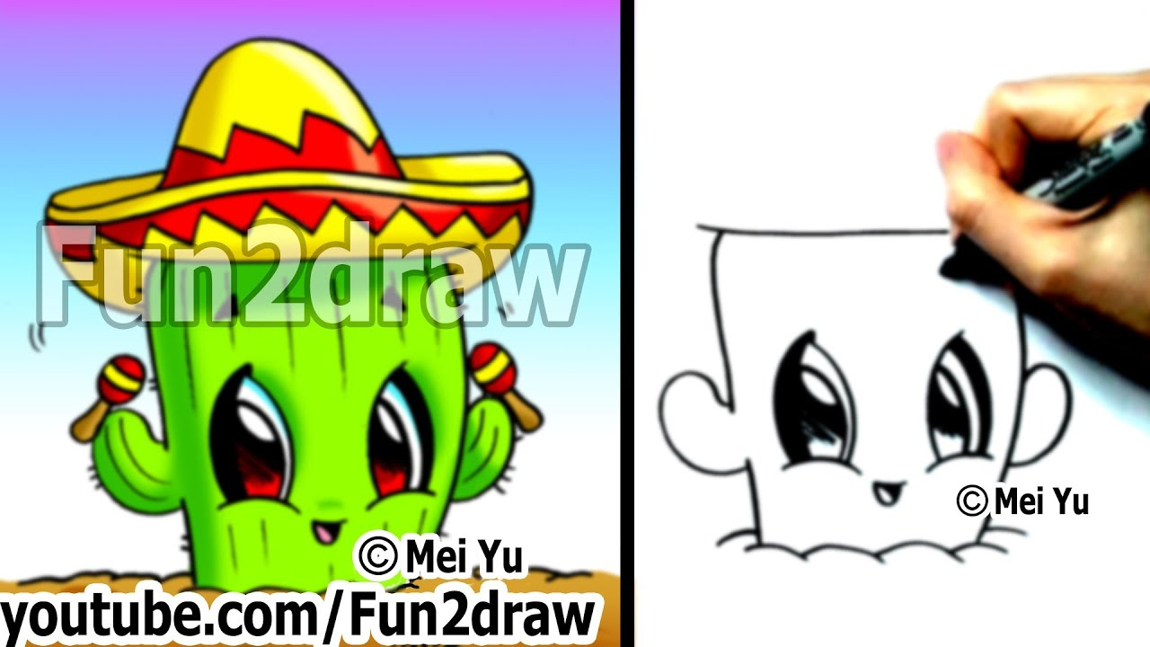 Easy Mexican Things To Draw Cactus With Sombrero Drawing