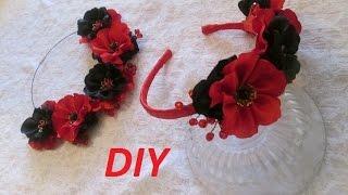 DIY / Колье и ободок для волос своими руками / Мастер класс цветы из ткани /