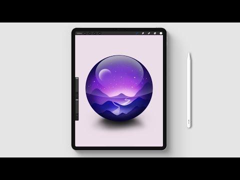Drawing A Landscape Orb In Procreate | iPad Pro