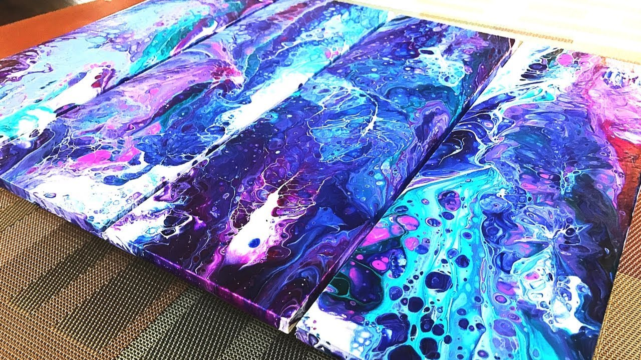 Fluid painting art on a craft pallet with acrylic pouring for How to make fluid acrylic paint