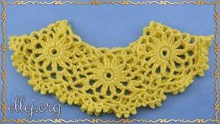 ♥ Рюш из мотивов крючком • Мастер-класс • Безотрывное вязание • How to crochet a-line motifs.