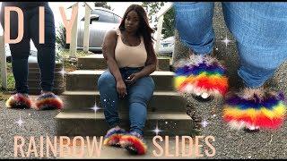 DIY Affordable Rainbow Fur Slides
