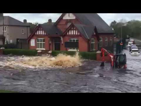 Torrent of water floods road after main burst in Wednesbury