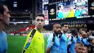 Himno nacional de Chile en partido Uruguay vs Mexico