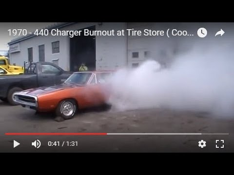 1970 - 440 charger burnout at tire store ( cooper cobras) - youtube