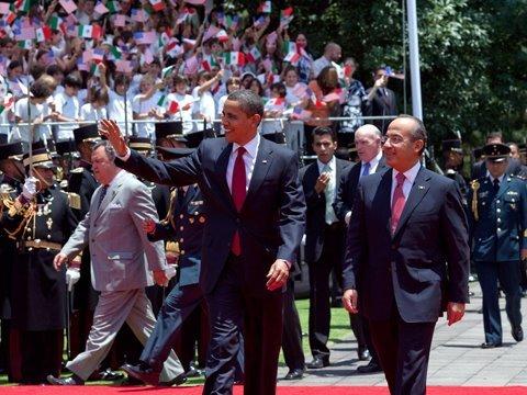 President Calderón Welcomes President Obama to Mexico