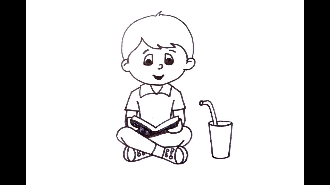 How To Draw A Boy Reading A Book