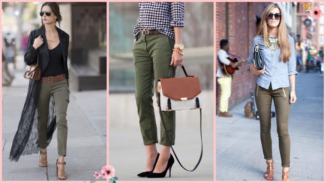 Como Combinar Pantalones De Color Verde Militar Tendencias 2019 De Moda Casual Mujer Youtube