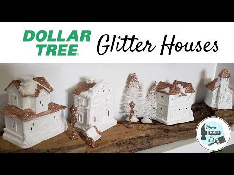 DIY Dollar Tree Lighted Glitter House Village