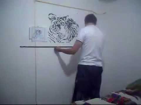 Mural tigre para habitaci n youtube for Murales de pared