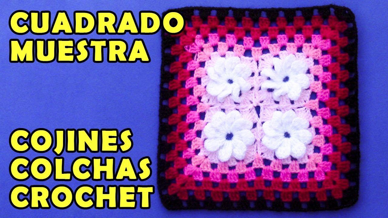 Cuadrado Para Colchas O Cojines Tejido A Crochet De Cuatro Florcitas