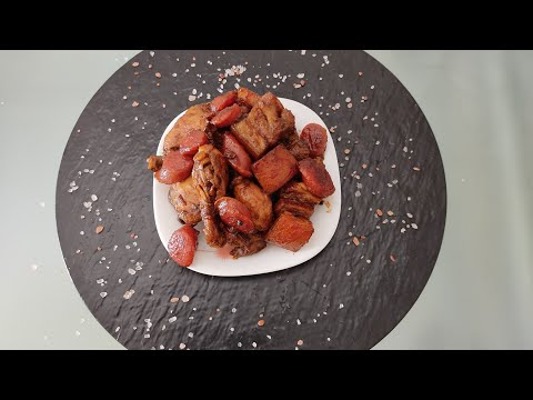 CHICKEN PORK ADOBO WITH CHINESE SAUSAGE .