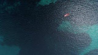 Aerial Shot Of Lone Kayak  - Slow Motion Stock Video
