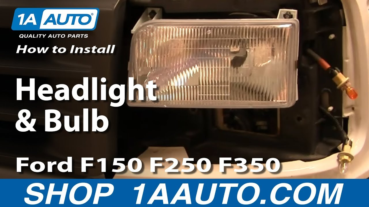 how to replace headlight and bulb ford 92 96 f150 250 350 [ 1280 x 720 Pixel ]