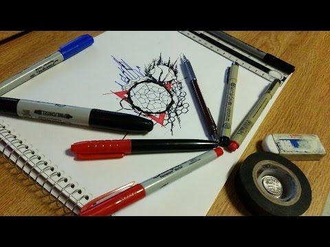 Abstract Geometric Tattoo Speed Drawing