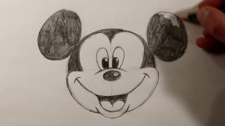 mickey mouse sketch face drawing draw head easy drawings sketches paintingvalley