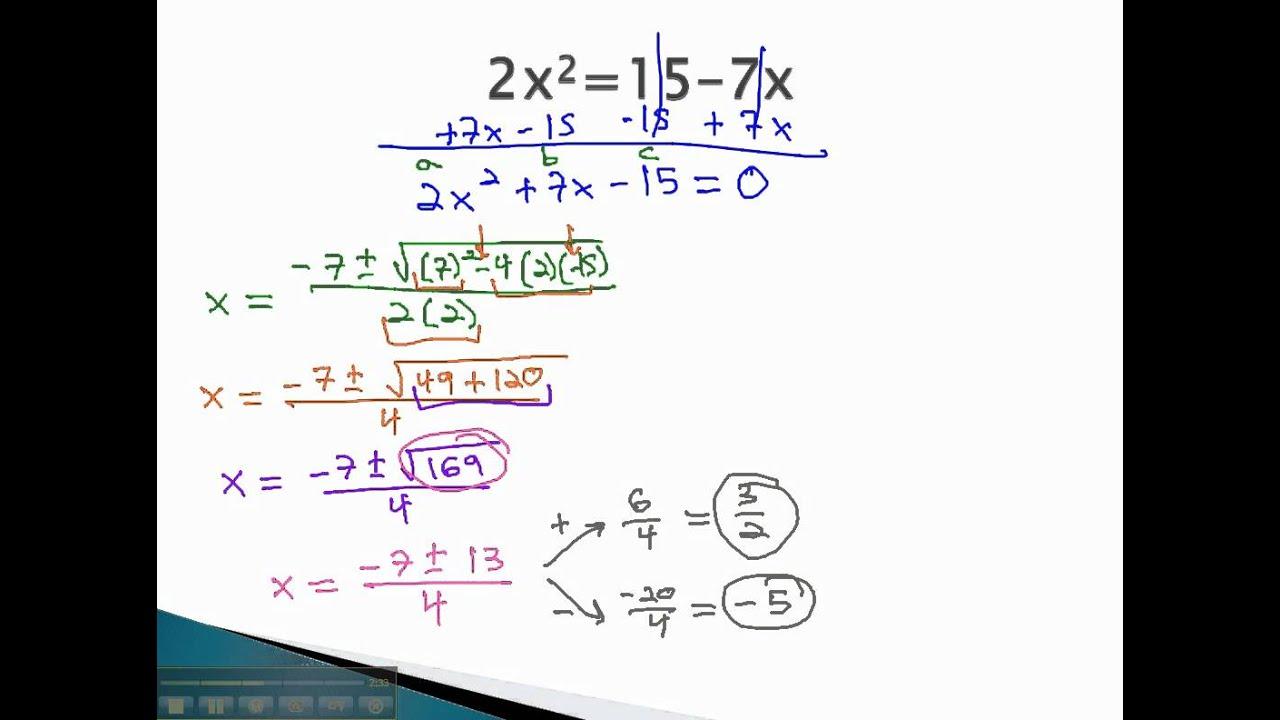 Quadratic Formula Make Equal To Zero Youtube