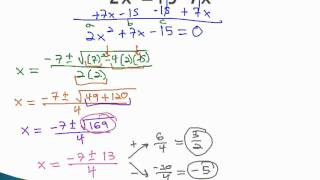 Quadratic Formula - Make Equal to Zero