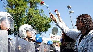 فيديو| صدامات بين الشرطة ومتظاهرين أكراد في ذكرى هجوم أنقرة الدامي