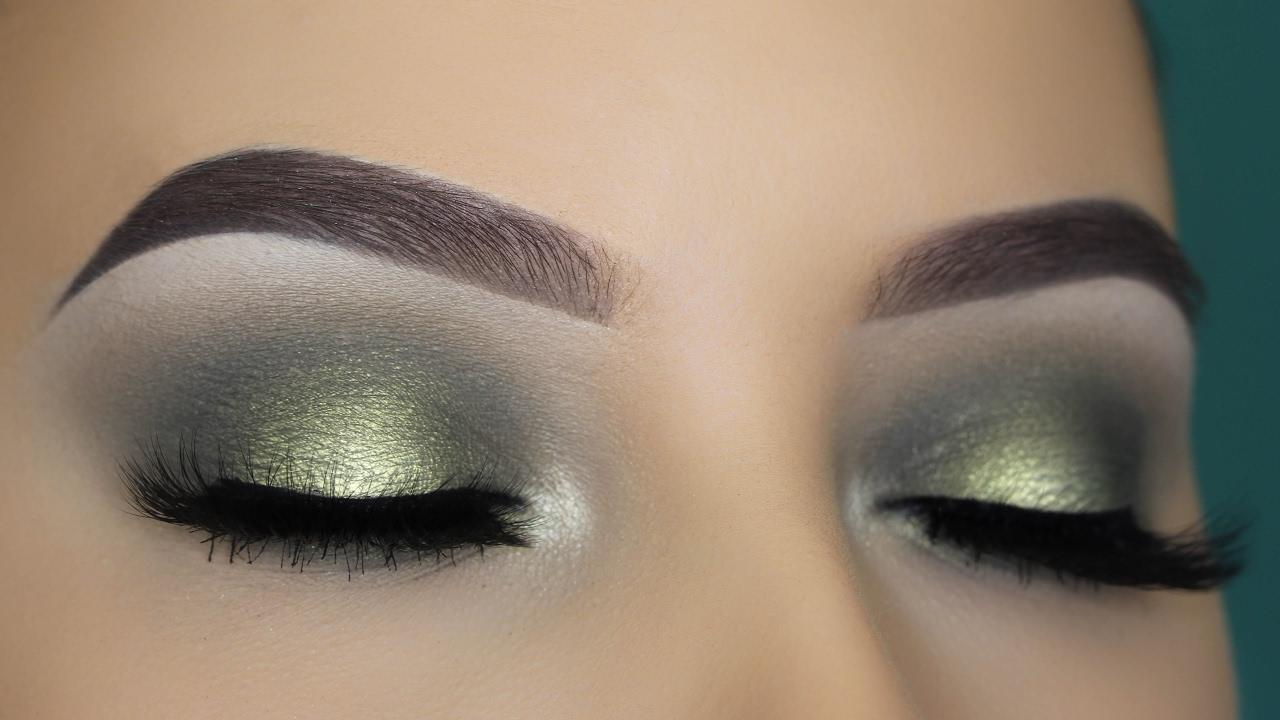 olive green halo eye makeup tutorial