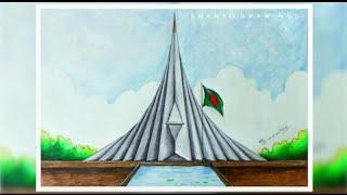 How To Draw SRITI SOUDHOU (স্মৃতি সৌধ) Of Bangladesh