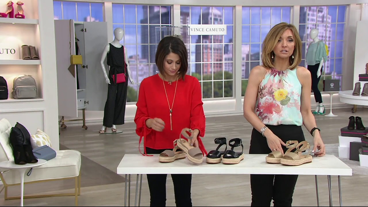 8d4f8dfd76c1 Vince Camuto Leather Ankle Strap Espadrilles - Kathalia on QVC - YouTube