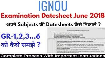 IGNOU Exam DateSheet June-2018