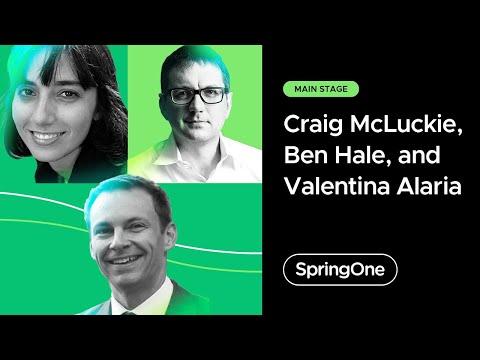 Craig McLuckie, Ben Hale, and Valentina Alaria at SpringOne 2021