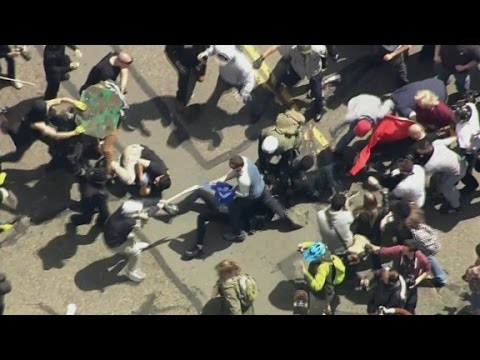 Fight erupts at CA protest, 12 arrests made