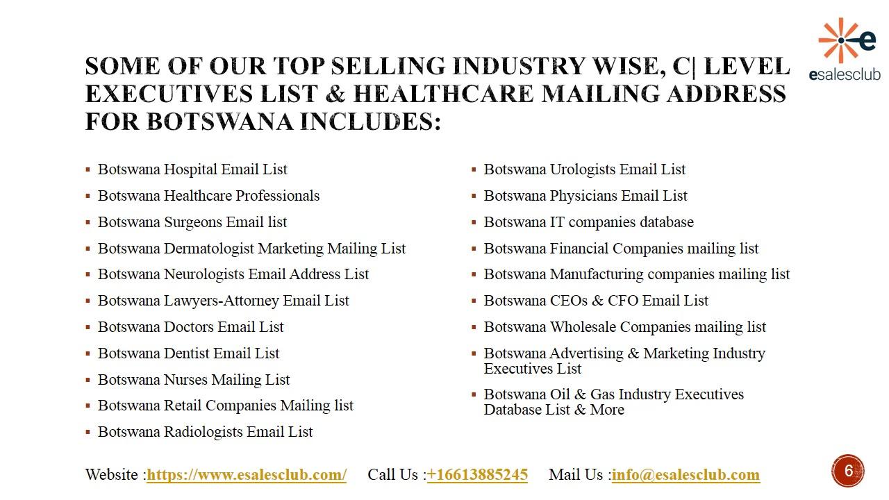 Trending Botswana Business Email List | Botswana Executives