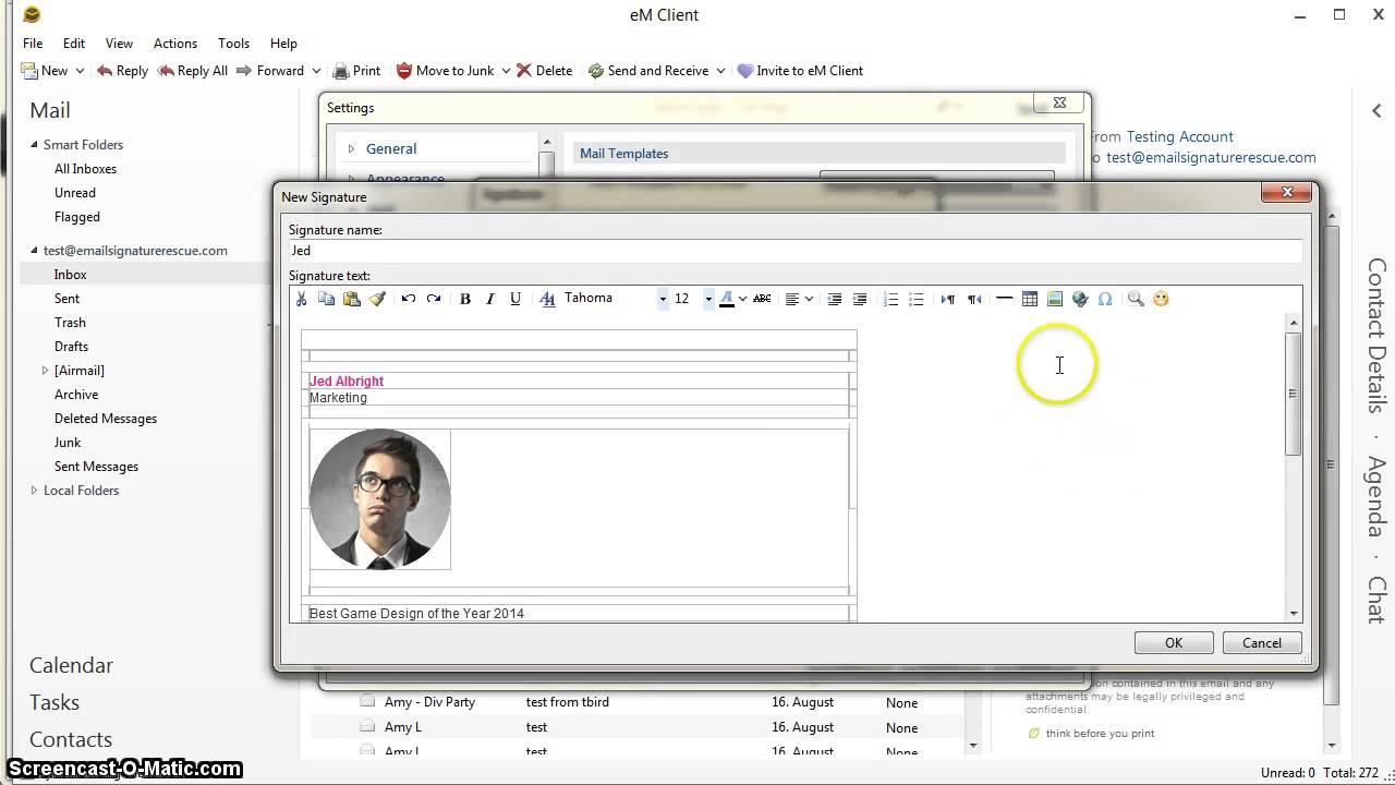 How to setup a HTML signature in eM Client software - YouTube