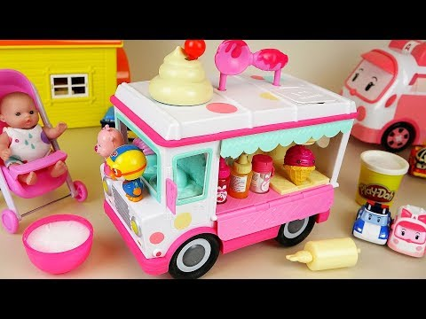 Baby doll IceCream cars Play-doh and food car toys play