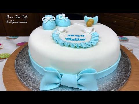 Torta per Battesimo in pasta di zucchero