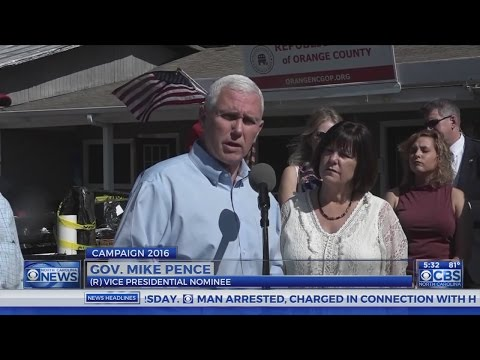 Republican VP candidate Pence visits firebombed office in Hillsborough
