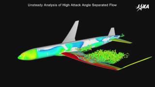 航空機の高迎角剥離流の非定常解析