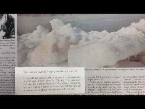 쏙쏙 오늘의 코리아타임스 (The Korea Times) 'Polar vortex' pushes freezing weather through US (2014.1.8)