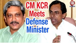 Kcr Meets Defence Minister Manohar Parrikar Over Construction Of Secretariat (07-05-2015)