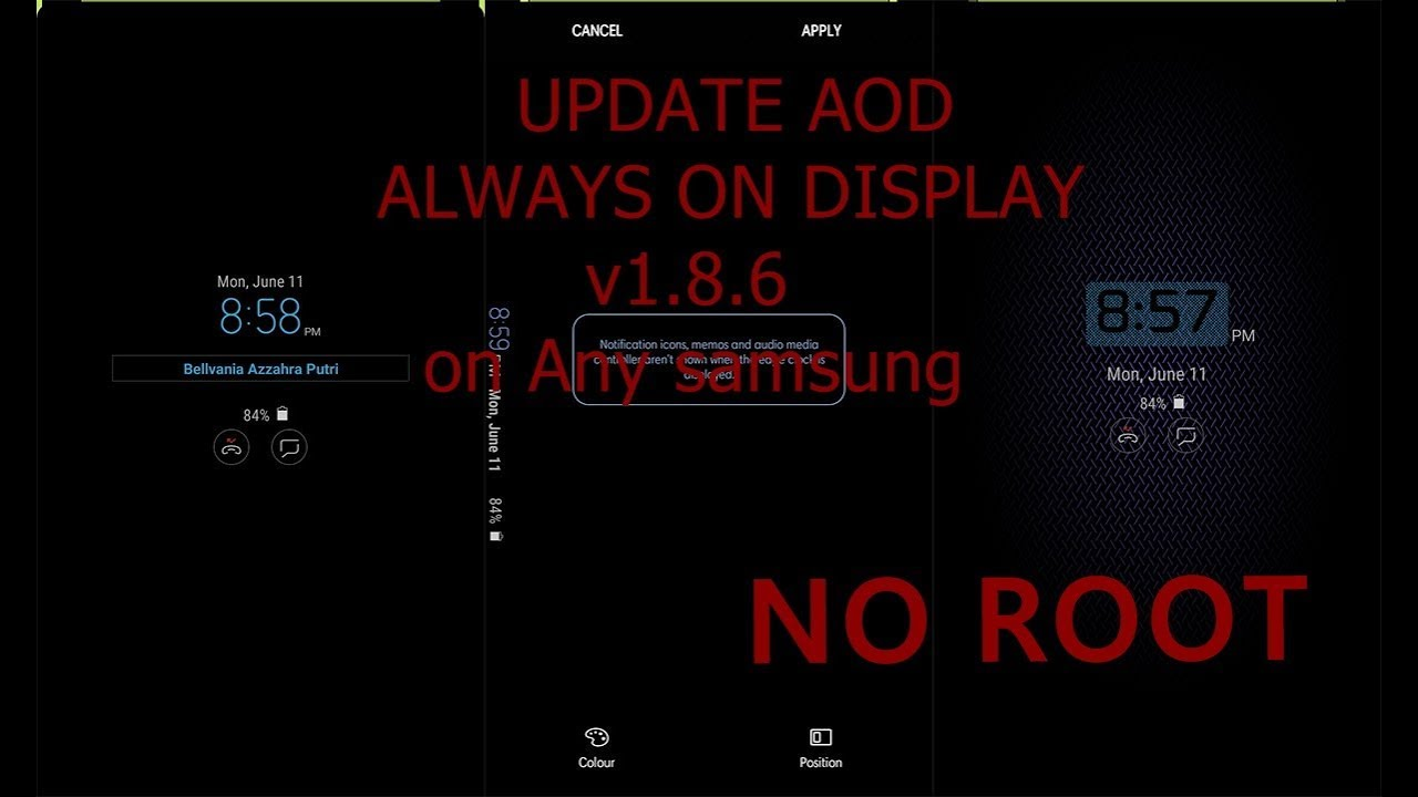 Update Always on Display (AOD) v1 8 6 apk on Any Samsung Android Nougat |  No ROOT