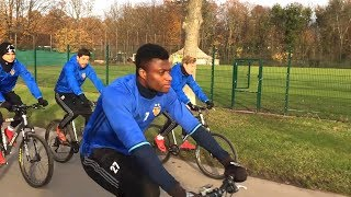 Basel Squad Ride Bicycles To Training Ahead Of Manchester United Clash