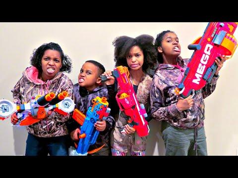 Nerf War Battle ATTACK - Shasha And Shiloh EPIC Nerf Mega Mastodon - Onyx Kids