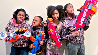 HUGE Nerf GAME!! - Shasha And Shiloh EPIC Nerf Mega Mastodon - Onyx Kids