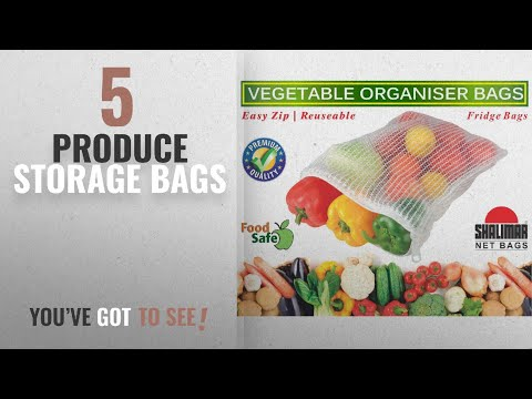 Top 10 Produce Storage Bags [2018]: Shalimar Vegetable Organiser Reusable Fridge Bags / Net Bags,(