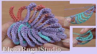 Вязание листика крючком, урок вязания 48