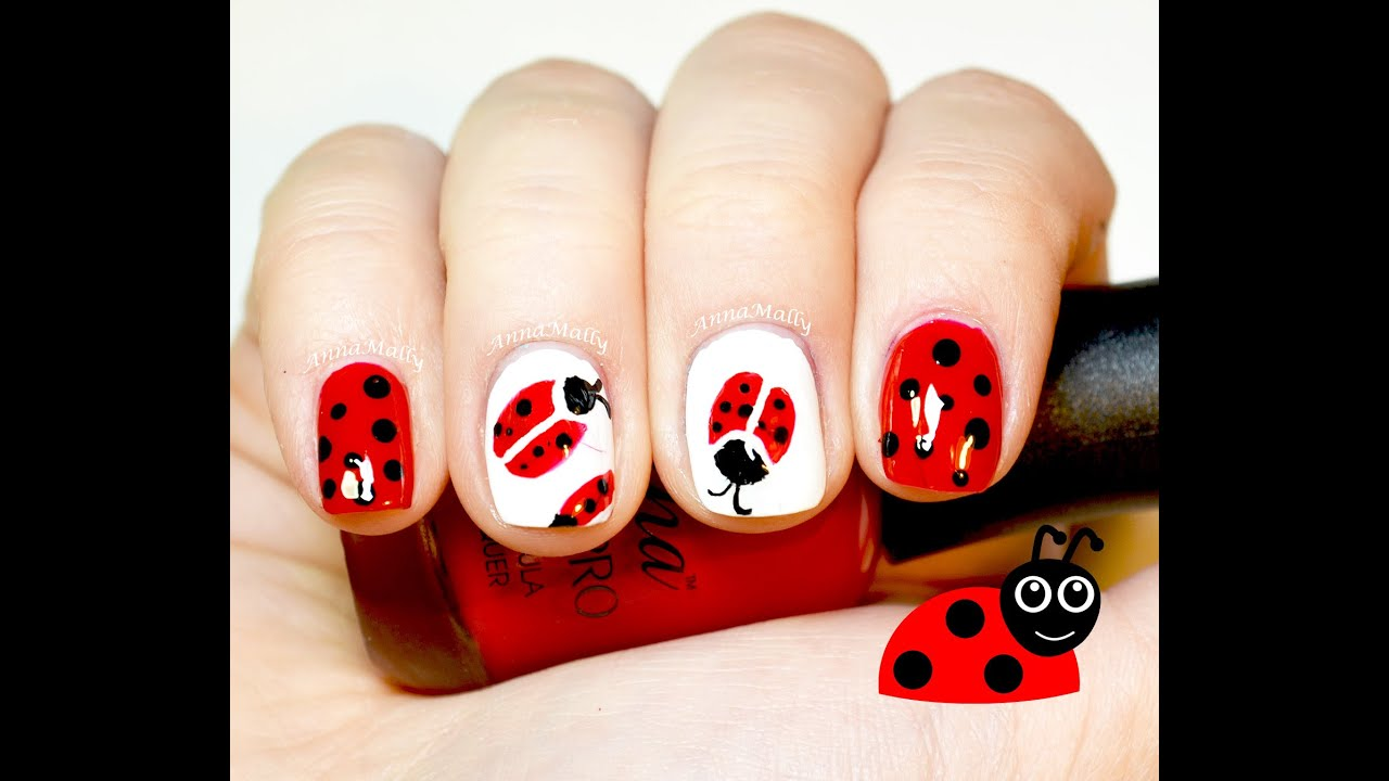 Simple Nail Art For Short Nails: Cute & Easy Ladybug Nail Art For Short Nails